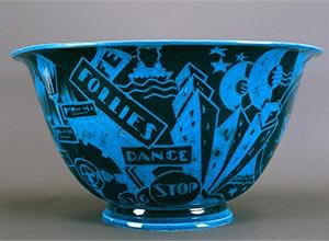 Egyptian Blue Jazz Bowl with Flared Rim